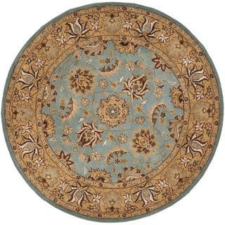 Safavieh Handmade Heritage Timeless Traditional Blue/ Gold Wool Rug (6' Round)