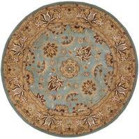 Safavieh Handmade Heritage Timeless Traditional Blue/ Gold Wool Rug (6' Round)