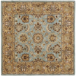 Safavieh Handmade Heritage Timeless Traditional Blue/ Gold Wool Rug (6' Square)