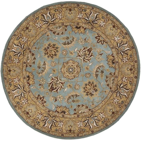 Safavieh Handmade Heritage Timeless Traditional Blue/ Gold Wool Rug (8' Round)