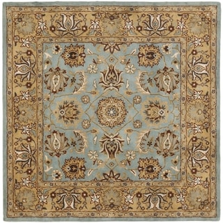 Safavieh Handmade Heritage Timeless Traditional Blue/ Gold Wool Rug (8' Square)
