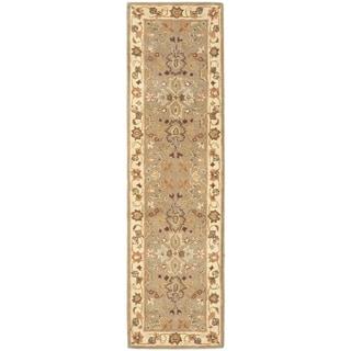 Safavieh Handmade Heritage Traditional Oushak Light Green/Beige Wool Runner (2'3 x 12')