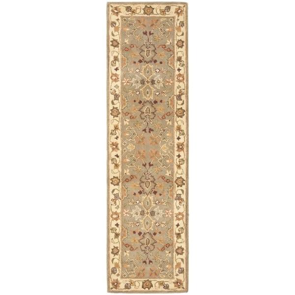 Safavieh Handmade Heritage Traditional Oushak Light Green/Beige Wool Runner (2'3 x 14')