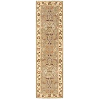 Safavieh Handmade Heritage Traditional Oushak Light Green/Beige Wool Runner (2'3 x 16')