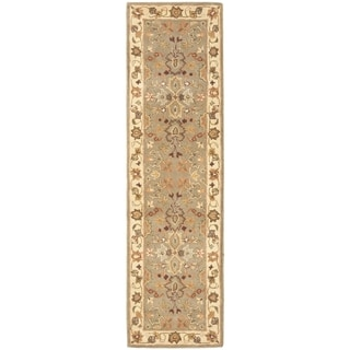 Safavieh Handmade Heritage Traditional Oushak Light Green/Beige Wool Runner (2'3 x 20')