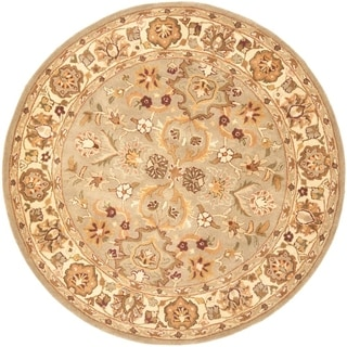 Safavieh Handmade Heritage Traditional Oushak Light Green/Beige Wool Rug (3'6 Round)