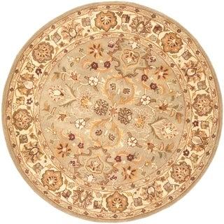 "Safavieh Handmade Heritage Traditional Oushak Light Green/Beige Wool Rug - 3'6"" x 3'6"" round"