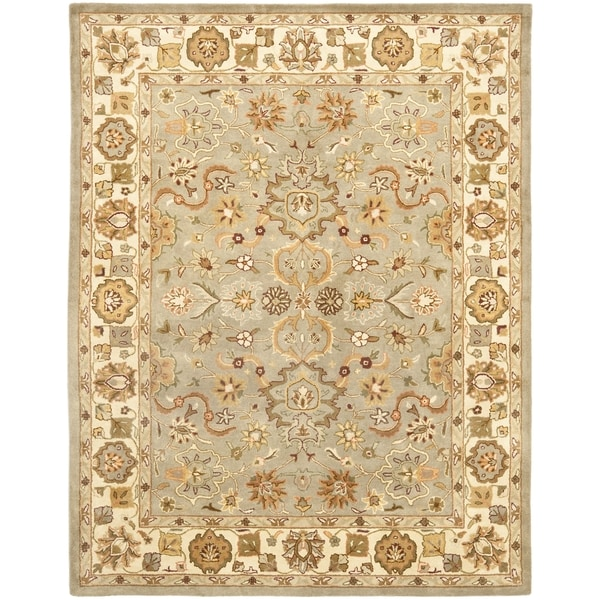 Safavieh Handmade Heritage Traditional Oushak Light Green/Beige Wool Rug - 6' x 9'