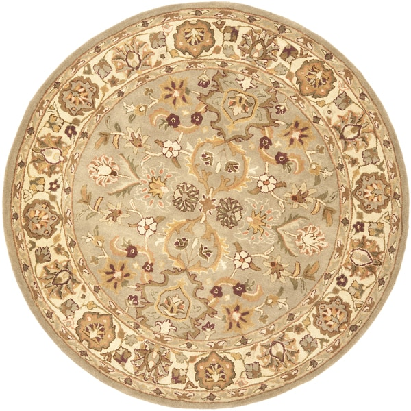 Safavieh Handmade Heritage Traditional Oushak Light Green/Beige Wool Rug (6' Round)