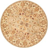 Safavieh Handmade Heritage Traditional Oushak Light Green/Beige Wool Rug - 6' x 6' Round