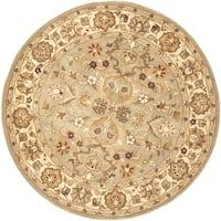 Safavieh Handmade Heritage Traditional Oushak Light Green/Beige Wool Rug - 8' x 8' Round