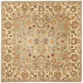 Safavieh Handmade Heritage Traditional Oushak Light Green/Beige Wool Rug (8' Square)