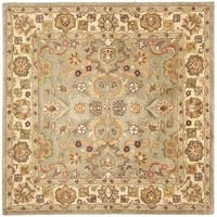 Safavieh Handmade Heritage Traditional Oushak Light Green/Beige Wool Rug - 8' x 8' Square