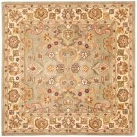 Safavieh Handmade Heritage Traditional Oushak Light Green/Beige Wool Rug - 8' x 8' Square