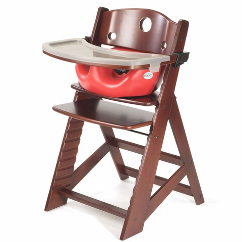 Height Right Mahogany High Chair with Infant Insert and Tray