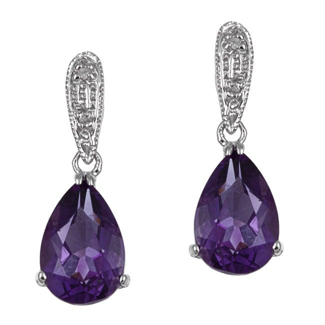 Kabella 14k White Gold Amethyst and 1/10ct TDW Diamond Earrings