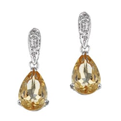 Kabella 14k White Gold Citrine and 1/10ct TDW Diamond Earrings