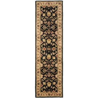 Safavieh Handmade Heritage Kerman Black/ Gold Wool Runner (2'3 x 8')