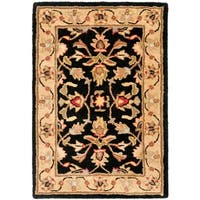 Safavieh Handmade Heritage Timeless Traditional Black/ Gold Wool Rug - 3' x 5'