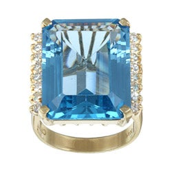 Kabella 14k Yellow Gold Blue Topaz and 5/8ct TDW Diamond Ring