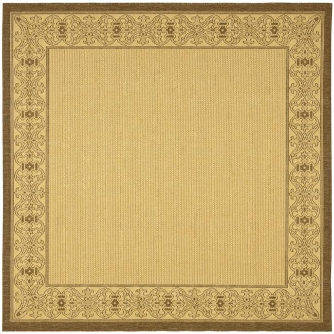 Safavieh Oceanview Natural/ Brown Indoor/ Outdoor Rug (7'10 Square)