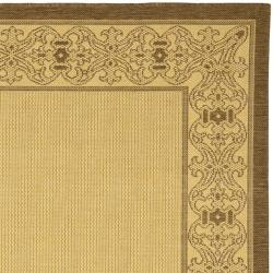 Safavieh Oceanview Natural/ Brown Indoor/ Outdoor Rug (7'10 Square) - Thumbnail 1