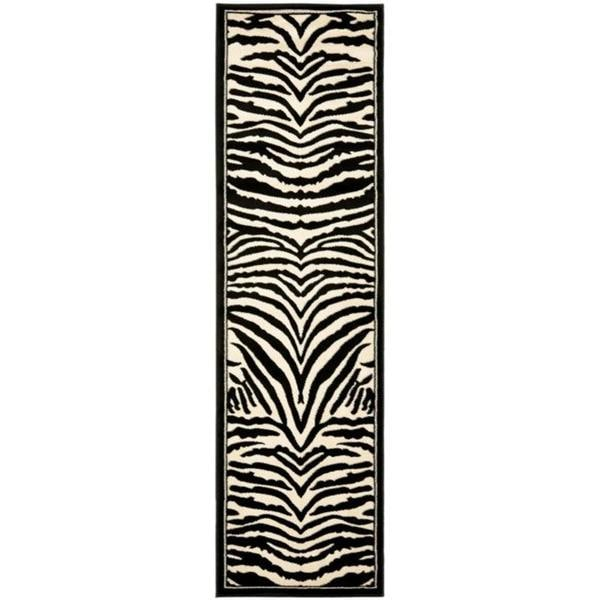 """Safavieh Lyndhurst Contemporary Zebra Black/ Ivory Runner Rug - 2'3"""" x 12'"""