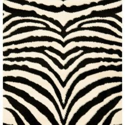 Safavieh Lyndhurst Contemporary Zebra Black/ White Runner (2'3 x 14') - Thumbnail 2