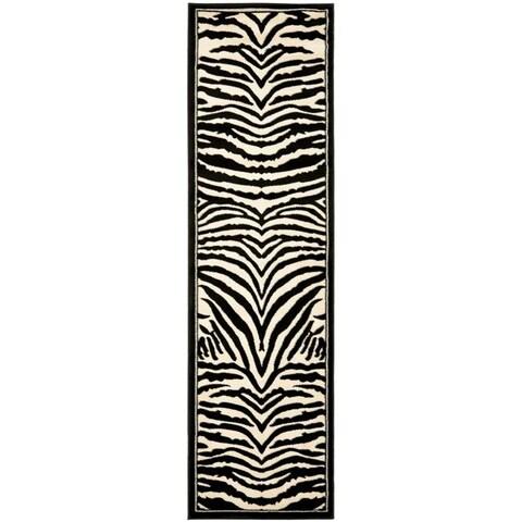"""Safavieh Lyndhurst Contemporary Zebra Black/ Ivory Runner Rug - 2'3"""" x 6'"""