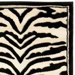 Safavieh Lyndhurst Contemporary Zebra Black/ White Runner (2'3 x 8') - Thumbnail 1