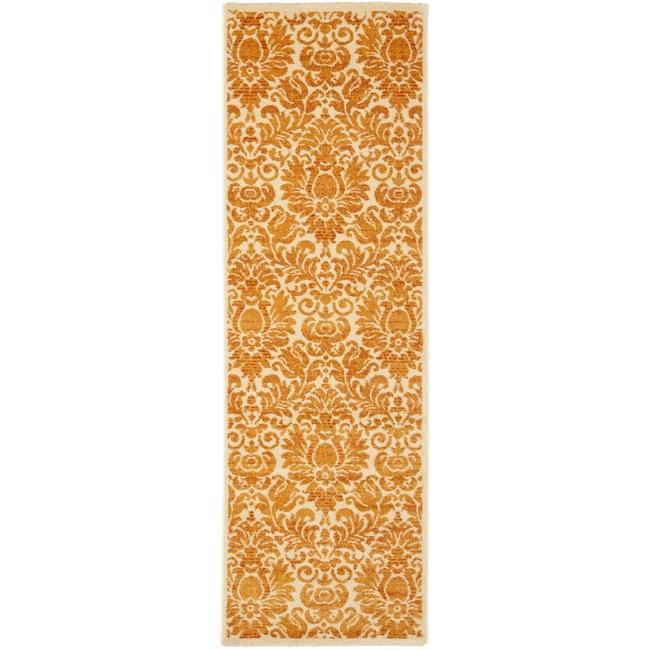 Safavieh Porcello Fine-spun Damask Cream/ Rust Runner Rug (2'4 x 6'7)