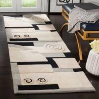 "Safavieh Handmade Rodeo Drive Modern Abstract Ivory/ Grey Wool Runner Rug - 2'6"" x 14'"