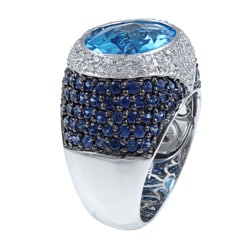 Kabella 18k White Gold Blue Topaz/ Sapphire and 5/8ct TDW Diamond Ring