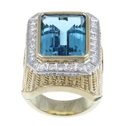 Kabella 14k Yellow Gold Blue Topaz and 4/5ct TDW Diamond Ring
