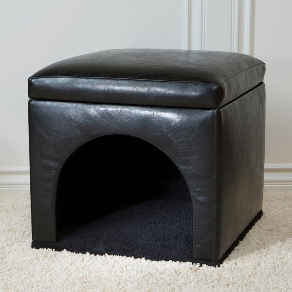 Christopher Knight Home Black Leather Upholstered Pet Bed Ottoman (17.5 x 18.3 x 18.3)