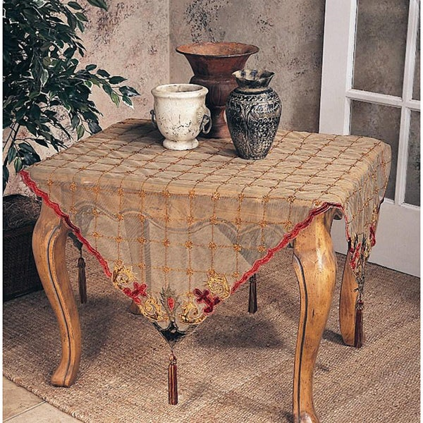 Embroidered Velvet 40 Inch Square Tablecloth Or Runner