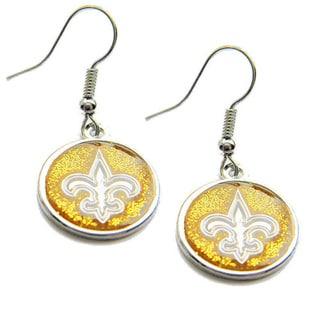Stainless Steel New Orleans Saints NFL Dangle Earrings