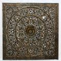 Recycled Teak Wood Black Stain Natural Wax Lotus Panel (Thailand)