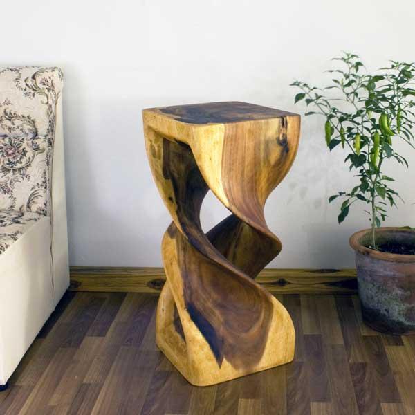 Monkey Pod Wood Double Twist Oak Oil Stool (Thailand)