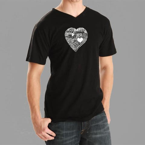 Los Angeles Pop Art Men's Heart V-neck Tee
