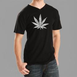 Los Angeles Pop Art Men's Leaf V-neck Tee