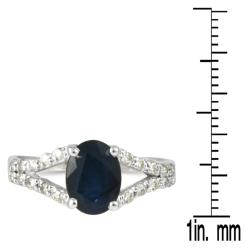 Marquee Jewels 10k White Gold Sapphire and 1/5ct TDW Diamond Ring (I-J, I1-I2) - Thumbnail 2