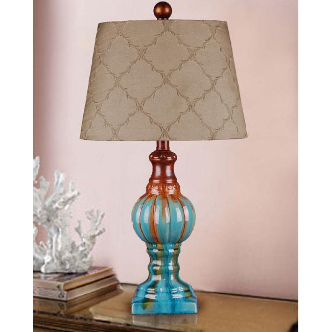 Hand-glazed Teal Ceramic Table Lamp