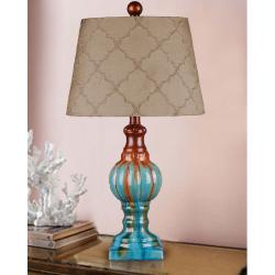 Hand-glazed Teal Ceramic Table Lamp - Thumbnail 0