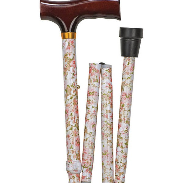 Mabis Beige Floral Designer Folding Cane