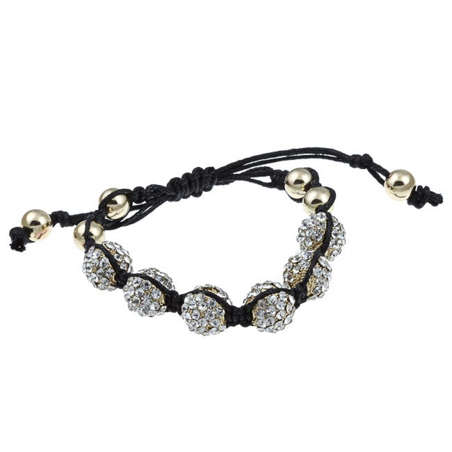 Celeste Goldtone Clear Crystal Beaded Black Cord Macrame Bracelet
