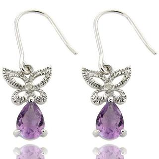 Dolce Giavonna Sterling Silver Amethyst and Diamond Accent Butterfly Earrings