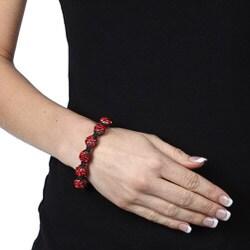Celeste Gunmetal Red Pave Crystal Beaded Black Cord Macrame Bracelet - Thumbnail 2