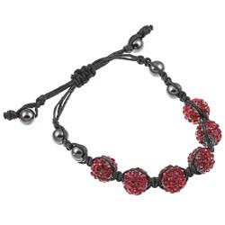 Celeste Gunmetal Red Pave Crystal Beaded Black Cord Macrame Bracelet
