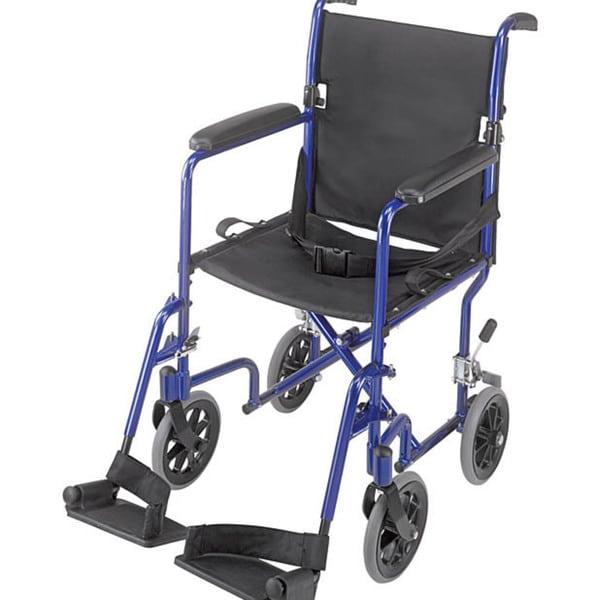 Mabis 19 Inch Ultra Lightweight Royal Blue Aluminum Transport Chair